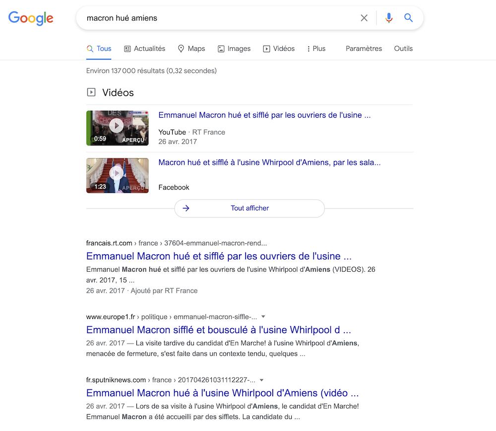 Capture Google Macron hué à Amiens