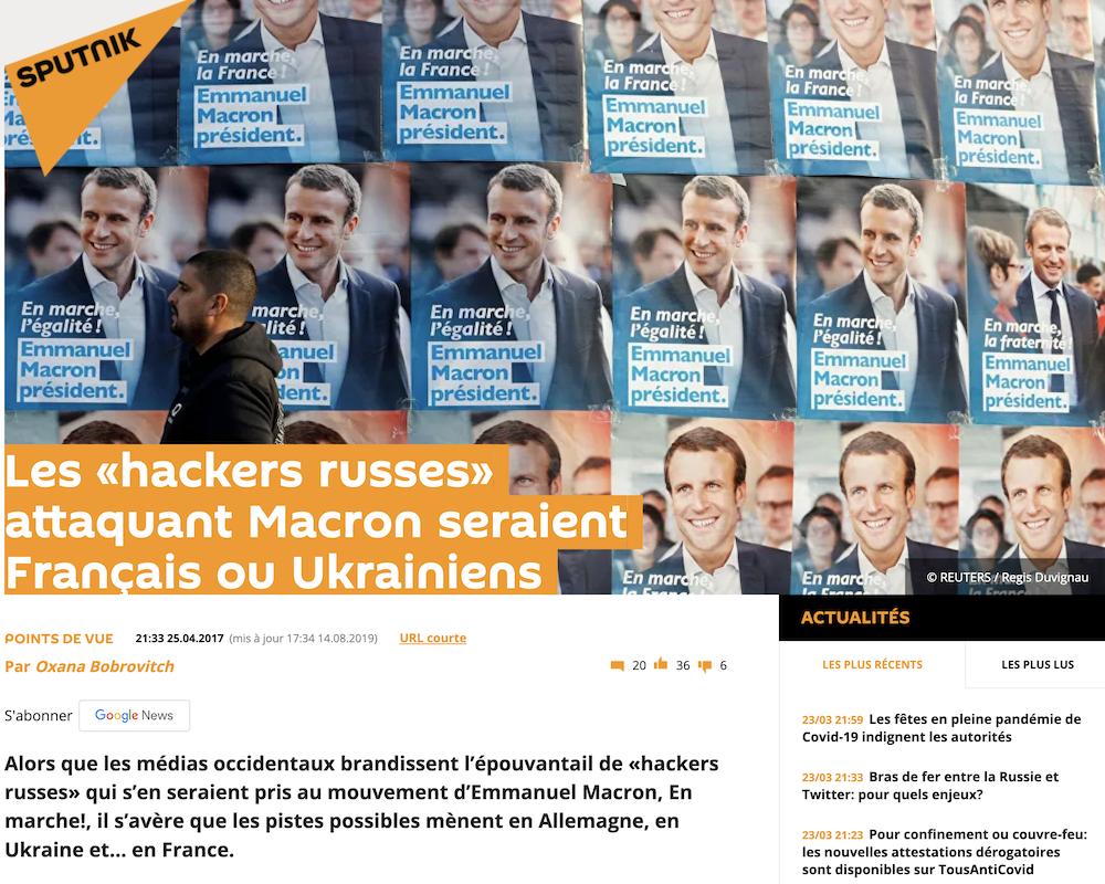 Article Sputnik sur Macron